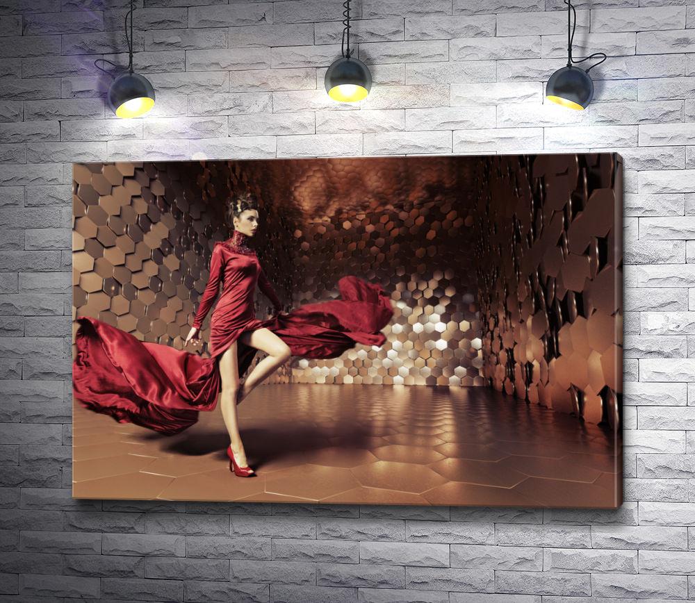 """Картина """"Гламурная девушка в красном платье"""""""