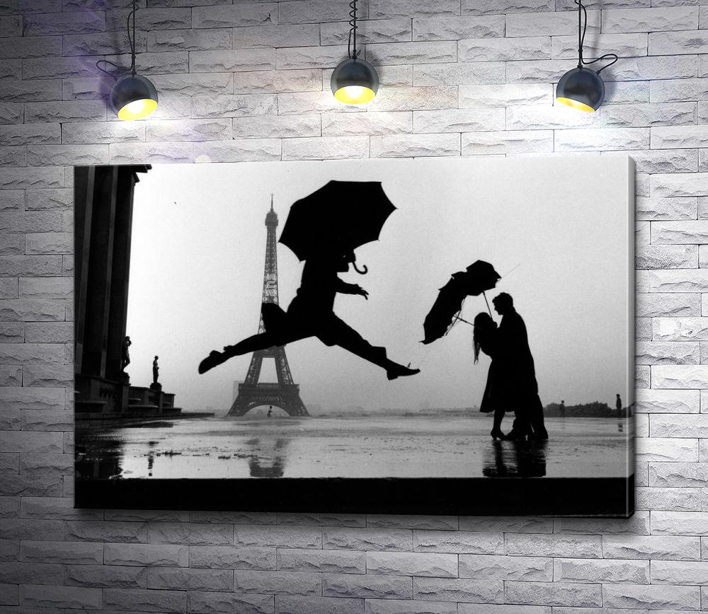 """Картина """"Танец под зонтом. Черно-белый Париж"""""""