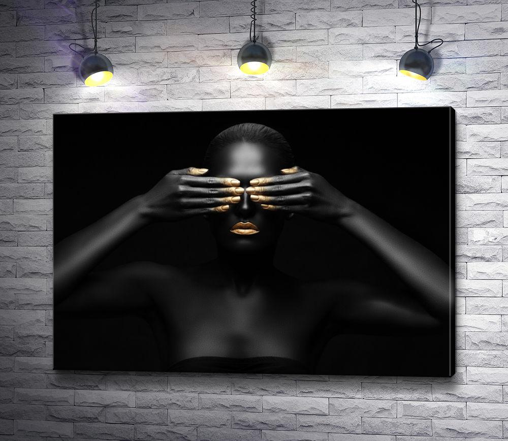 """Картина """"Чернокожая девушка с золотистым маникюром"""""""