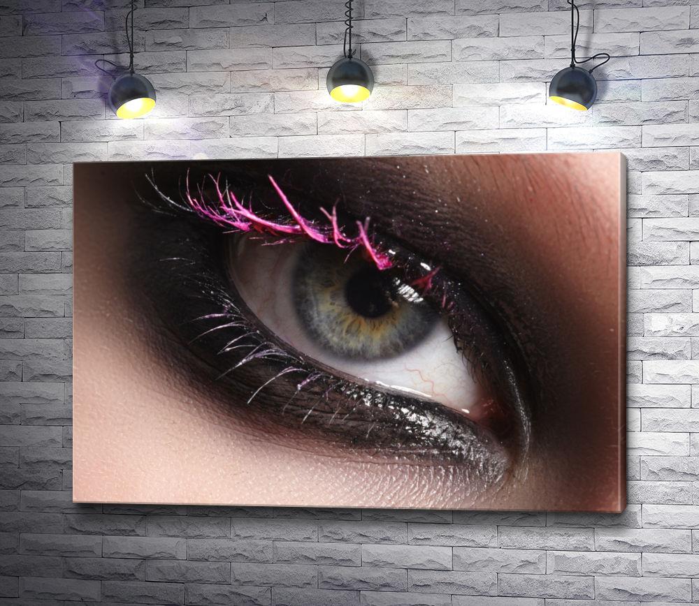 """Картина """"Smoky eyes - глаз с розовыми ресницами"""""""