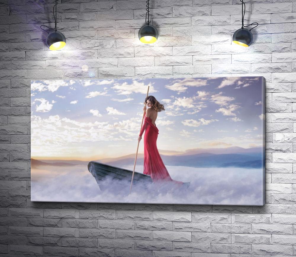 """Картина """"Девушка в красном платье на лодке в тумане"""""""