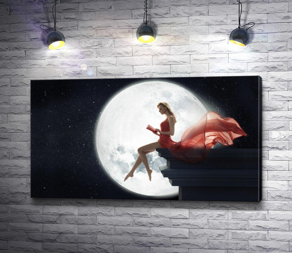 """Картина """"Девушка в красном платье на фоне луны"""""""
