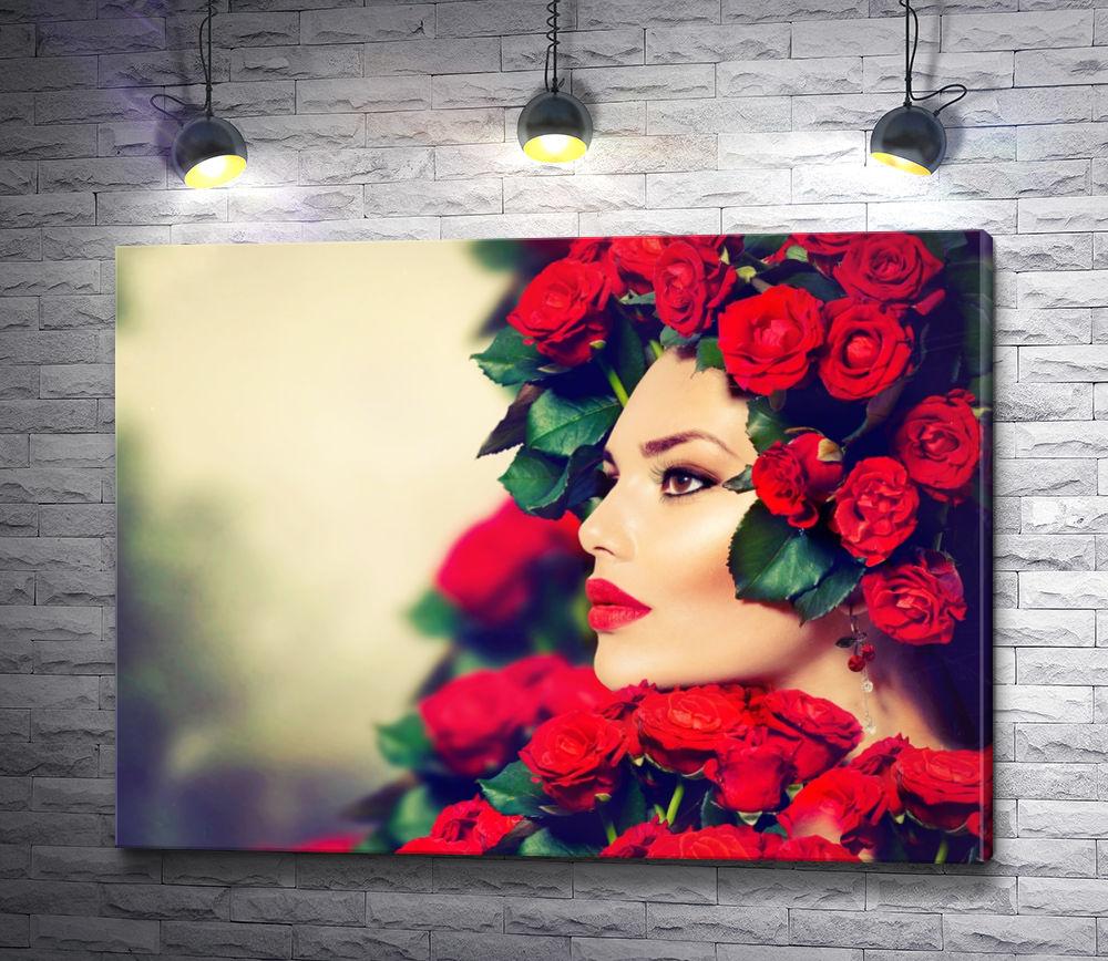"""Картина """"Девушка с красными розами"""""""