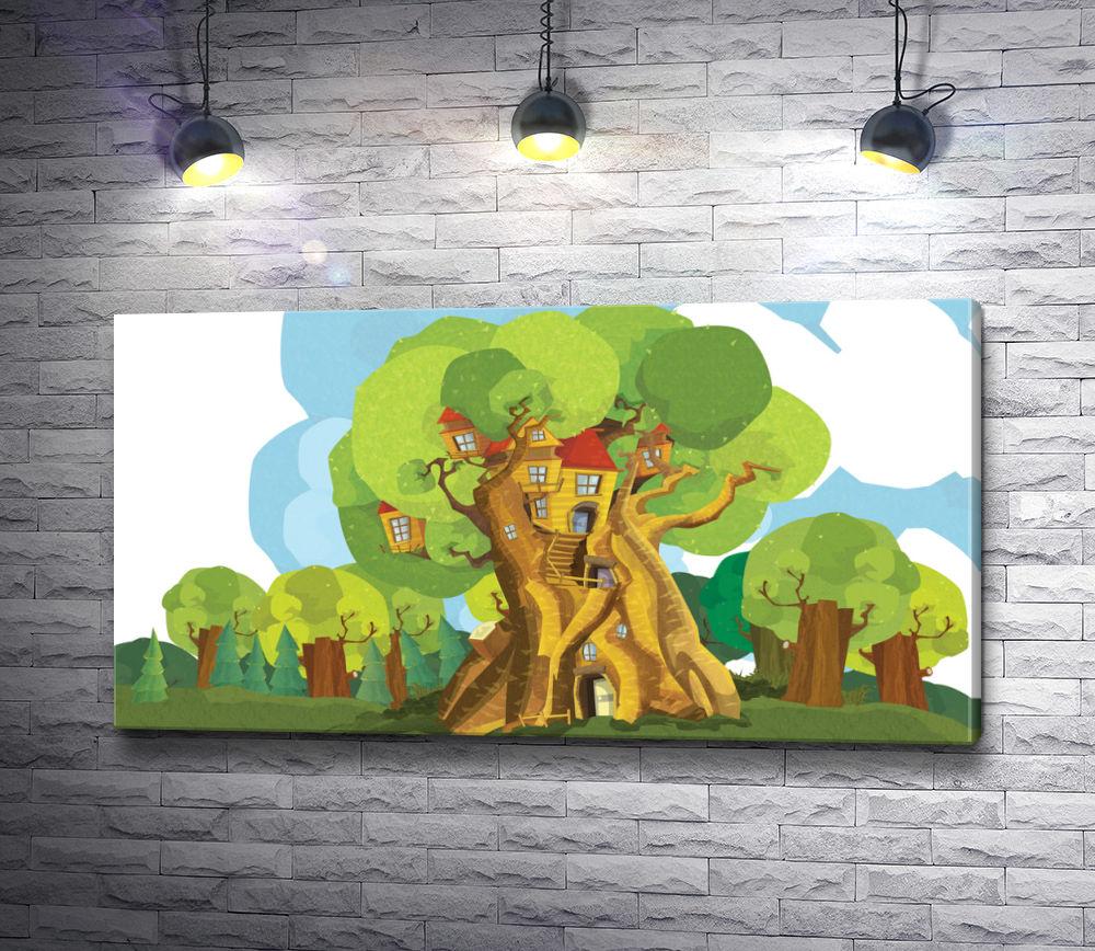 "Картина ""Фантастическое дерево с домиками"""