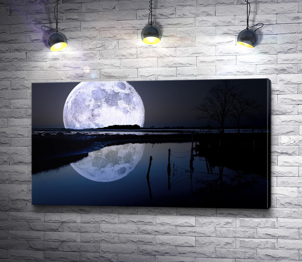 "Картина ""Огромная луна на горизонте"""