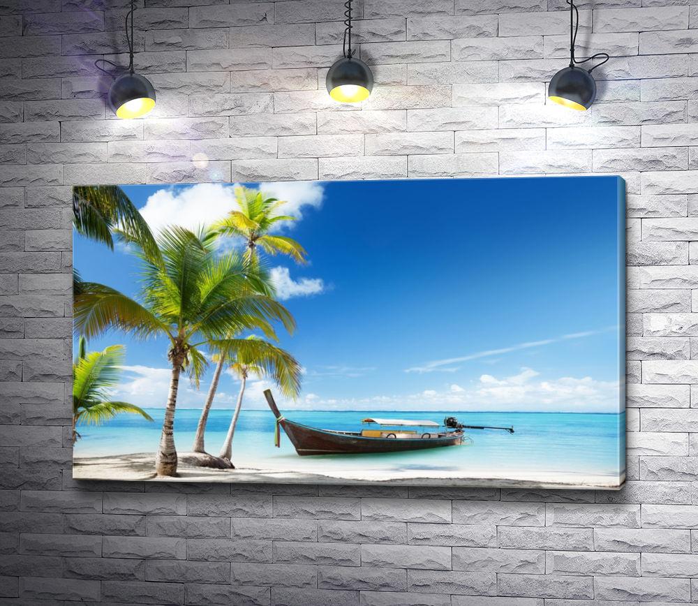 """Картина """"Лодка и пальмы. Тропический берег лагуны"""""""