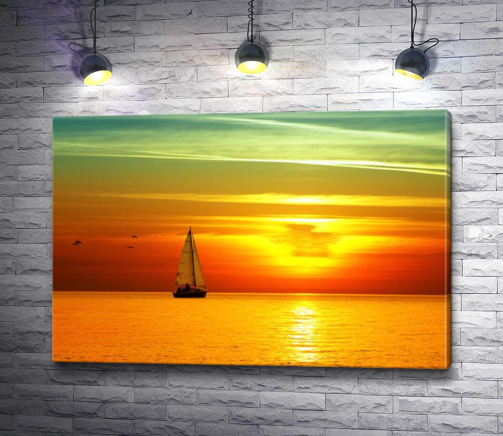 """Картина """"Парусник и оранжевый закат"""""""