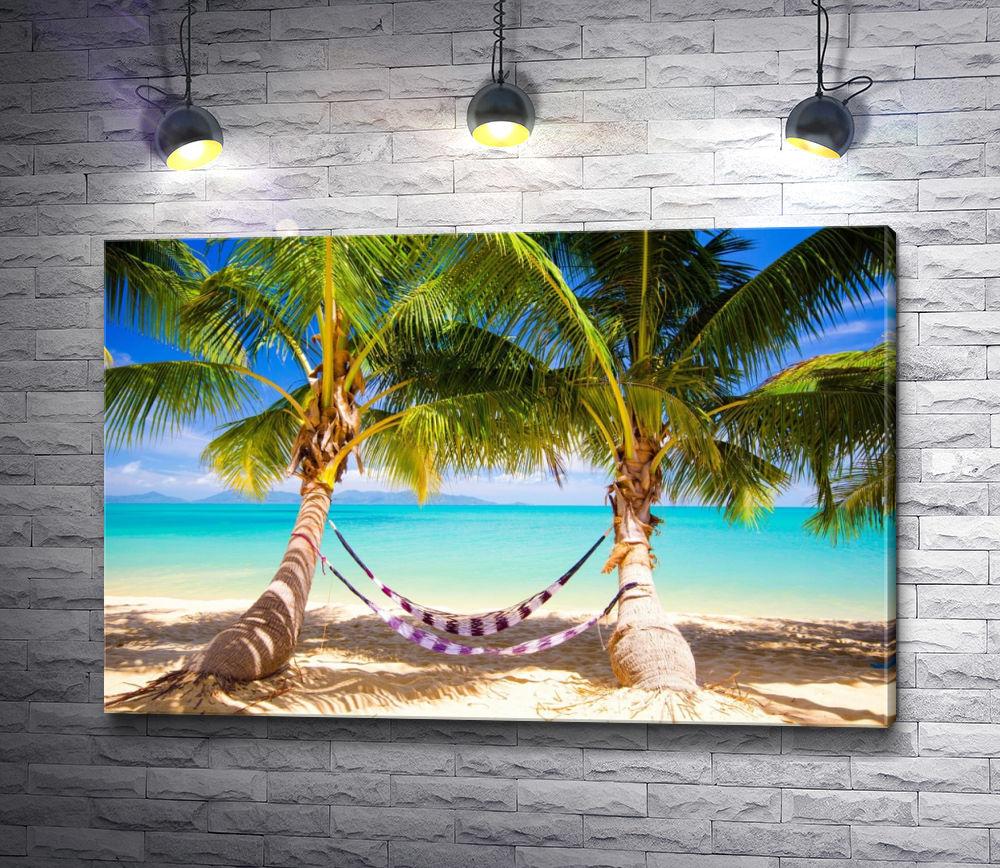 """Картина """"Гамак и пальмы на тропическом берегу"""""""