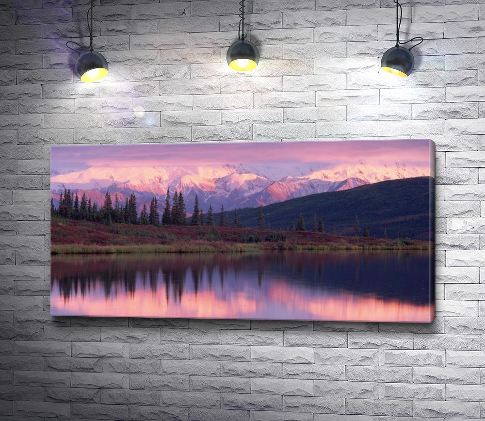 "Картина ""Сиреневый закат над озером"""