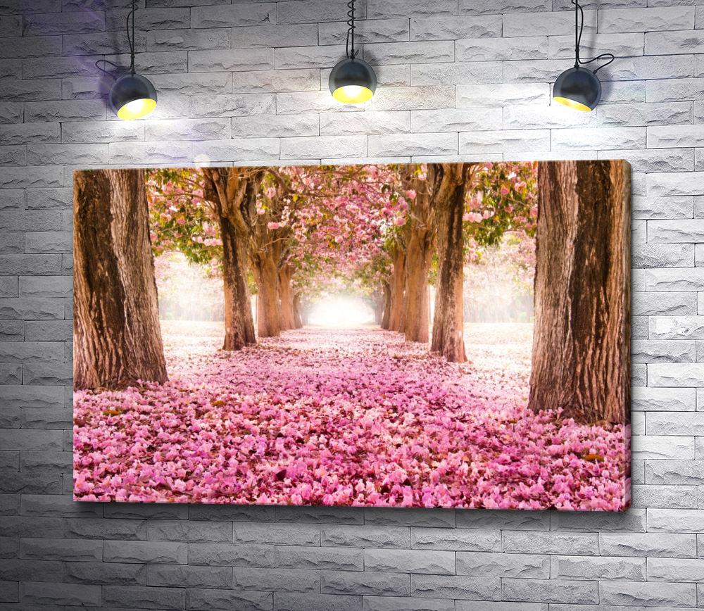 """Картина """"Аллея, усыпанная розовыми цветами"""""""