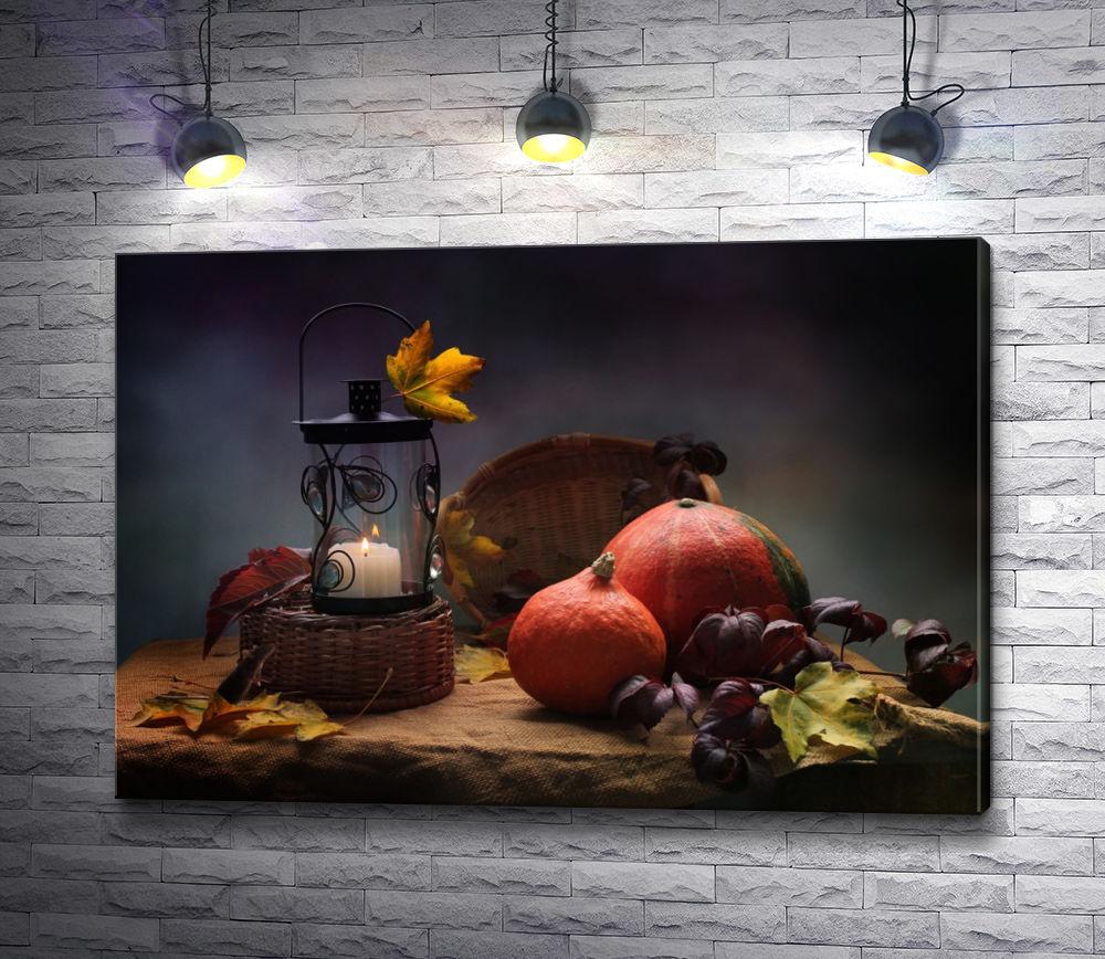 "Картина ""Гранат, свеча и осенние листья"""
