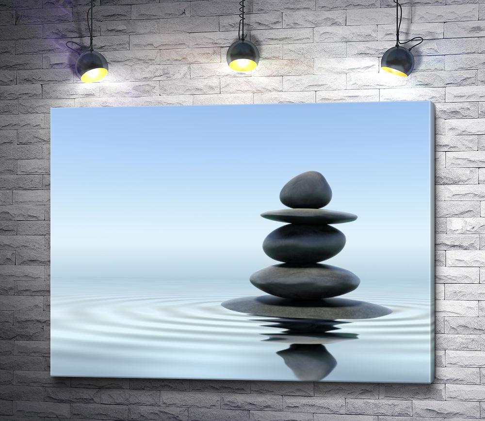 "Картина ""Пирамидка из камней на воде"""