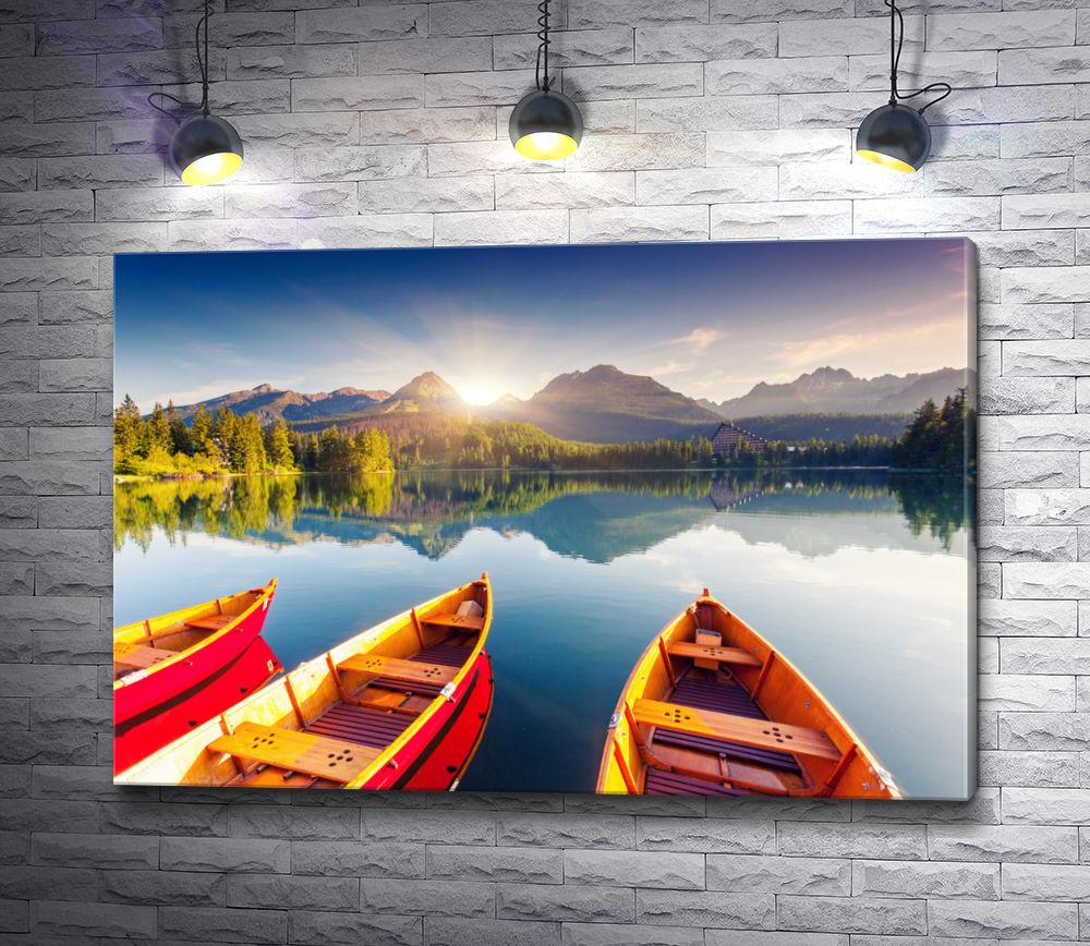 "Картина ""Лодки на зеркальном озере"""