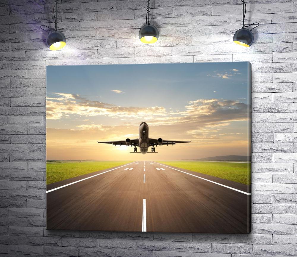 """Картина """"Самолет, взлетающий на рассвете """""""