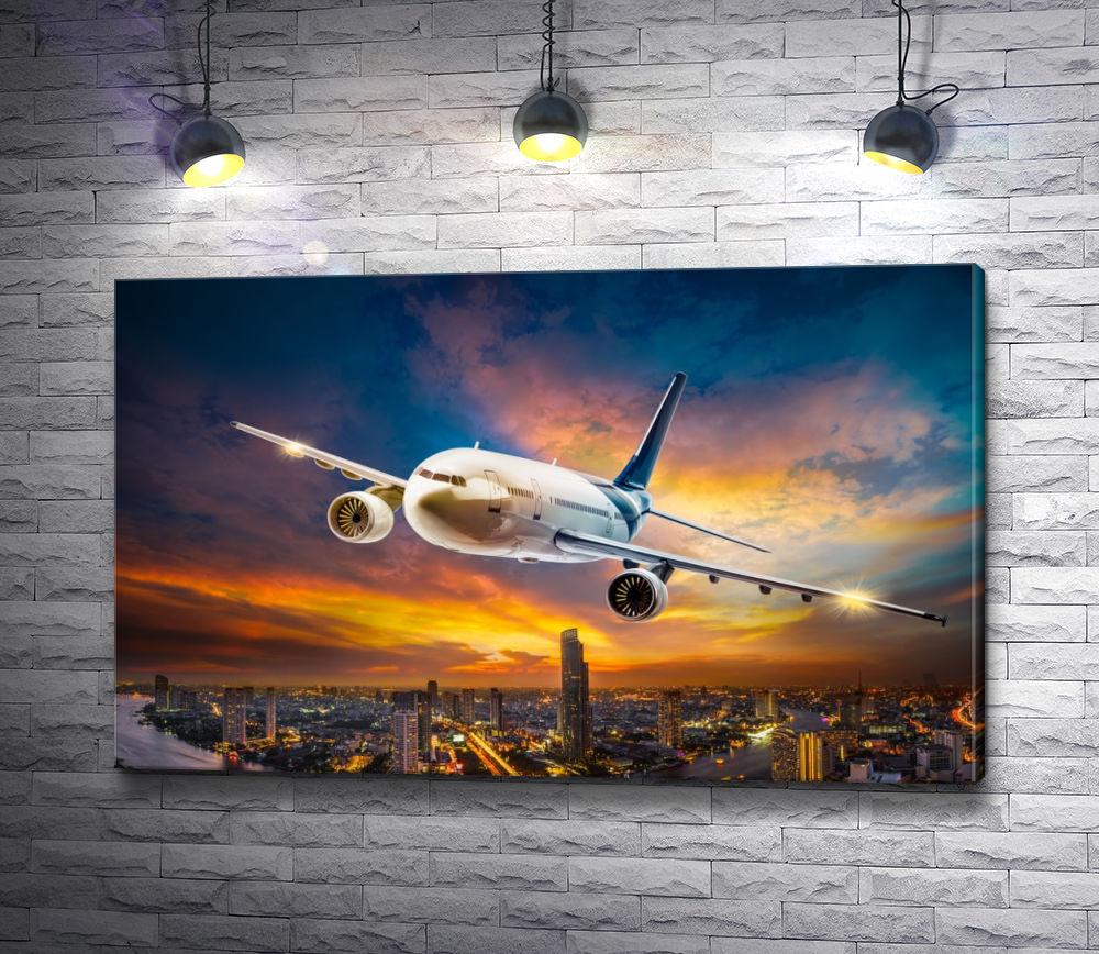"""Картина """"Самолет, летающий над ночным городом """""""