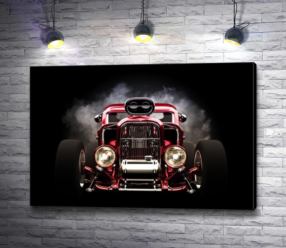 """Картина """"Красный автомобиль на черном фоне"""""""