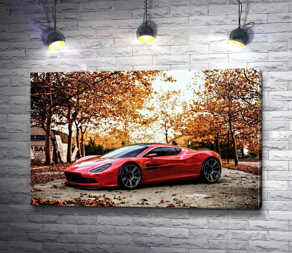 """Картина """"Красное авто в осеннем лесу"""""""