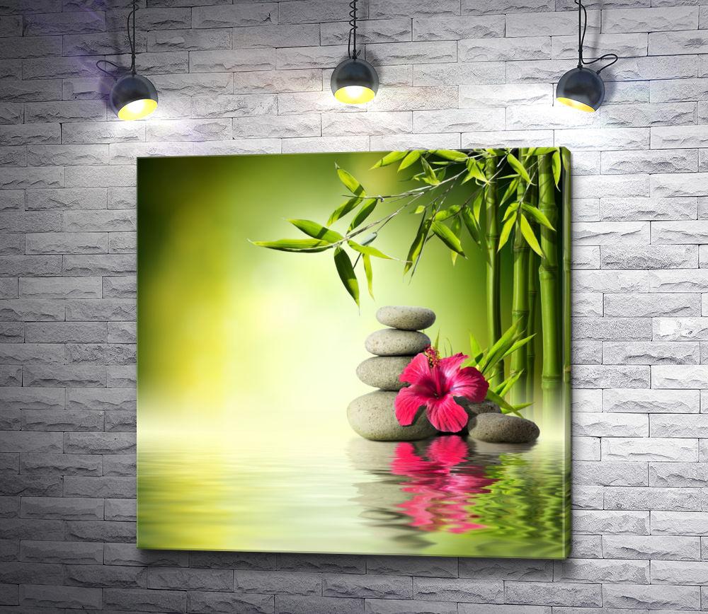 """Картина """"Орхидея и бамбук над гладью воды"""""""