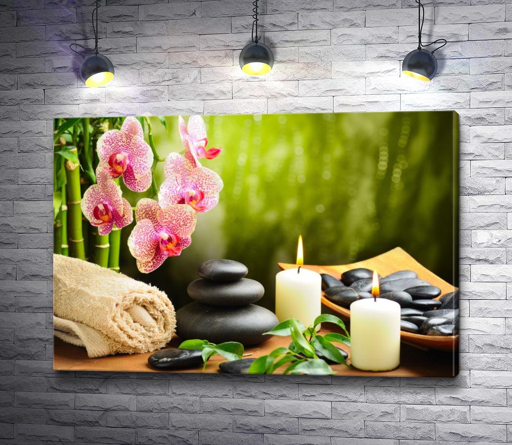 "Картина ""Спа камни и цветок орхидеи. Релакс"""