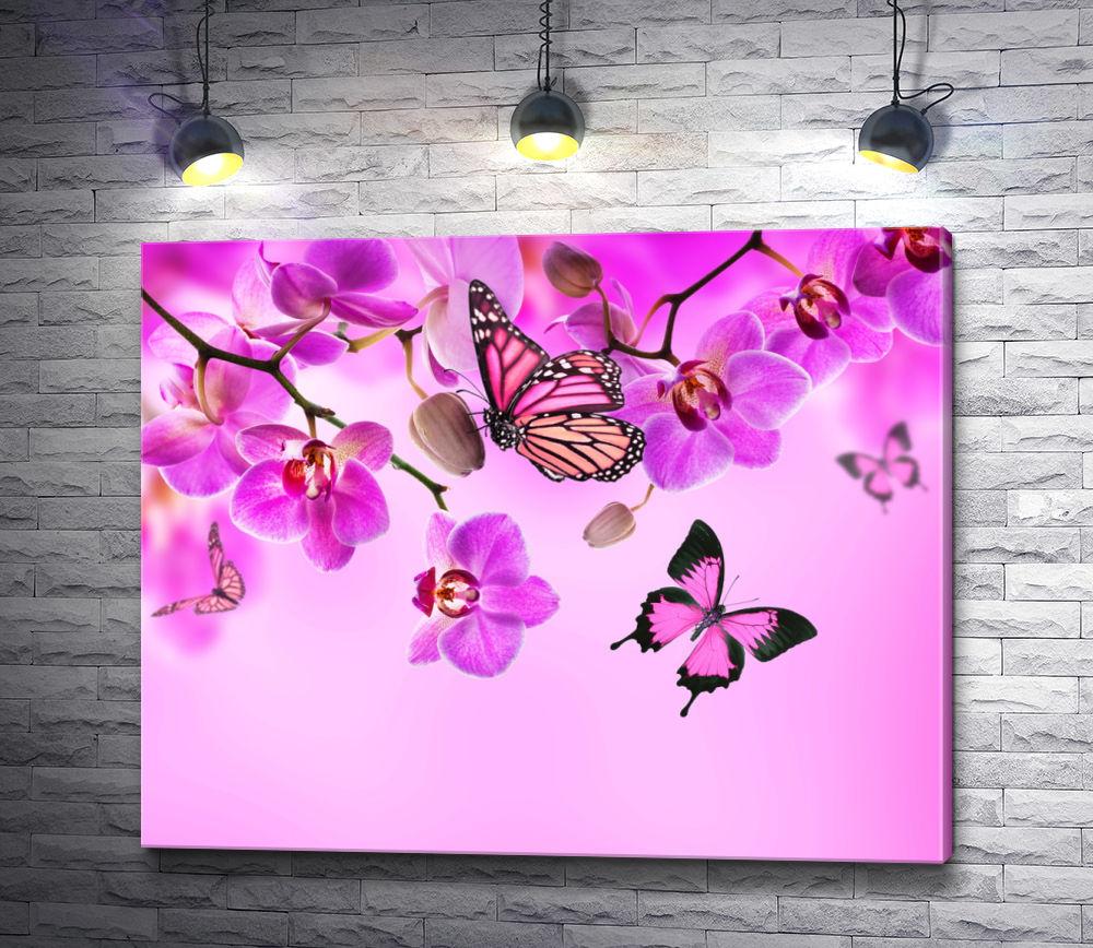 """Картина """"Розовые бабочки и нежные орхидеи"""""""