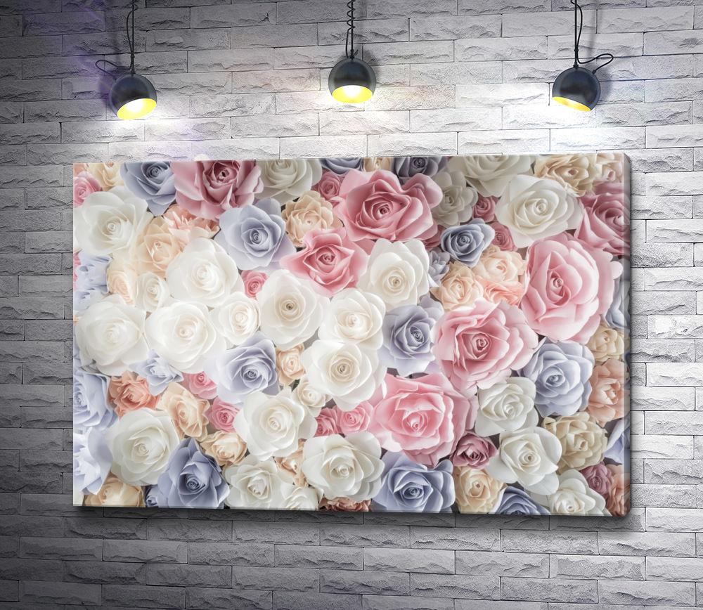 """Картина """"Россыпь роз пастельного цвета"""""""