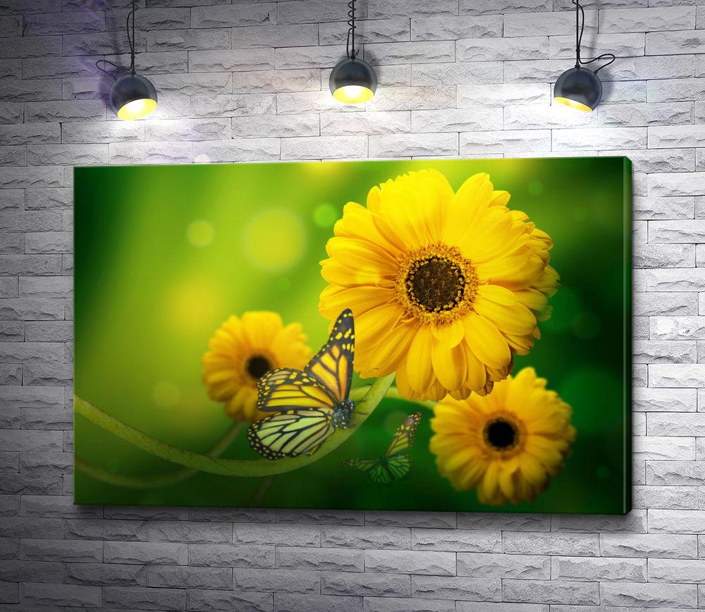 """Картина """"Желтые герберы с бабочками на зеленом фоне"""""""