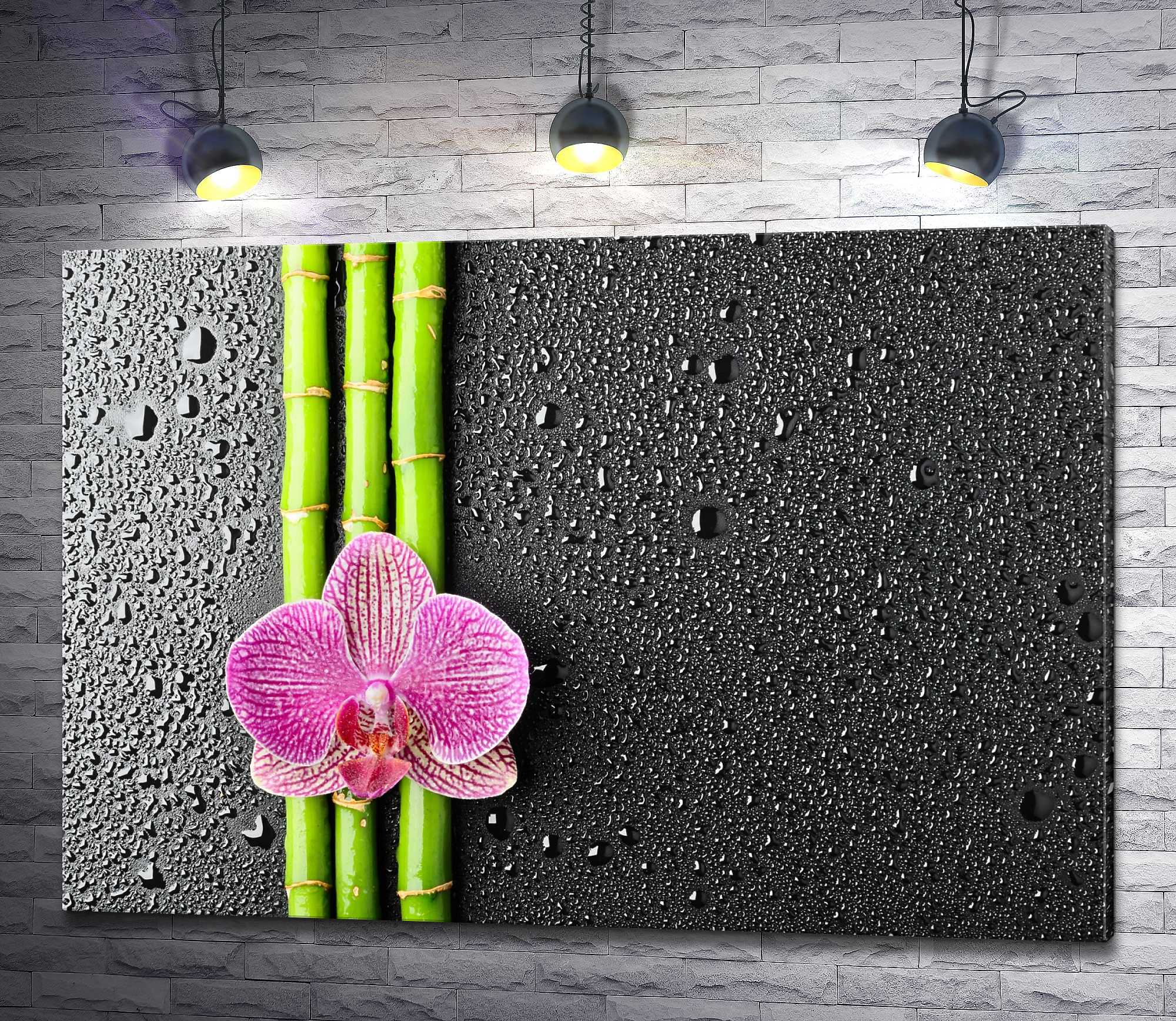 "Картина ""Орхидея на ветках бамбука"""