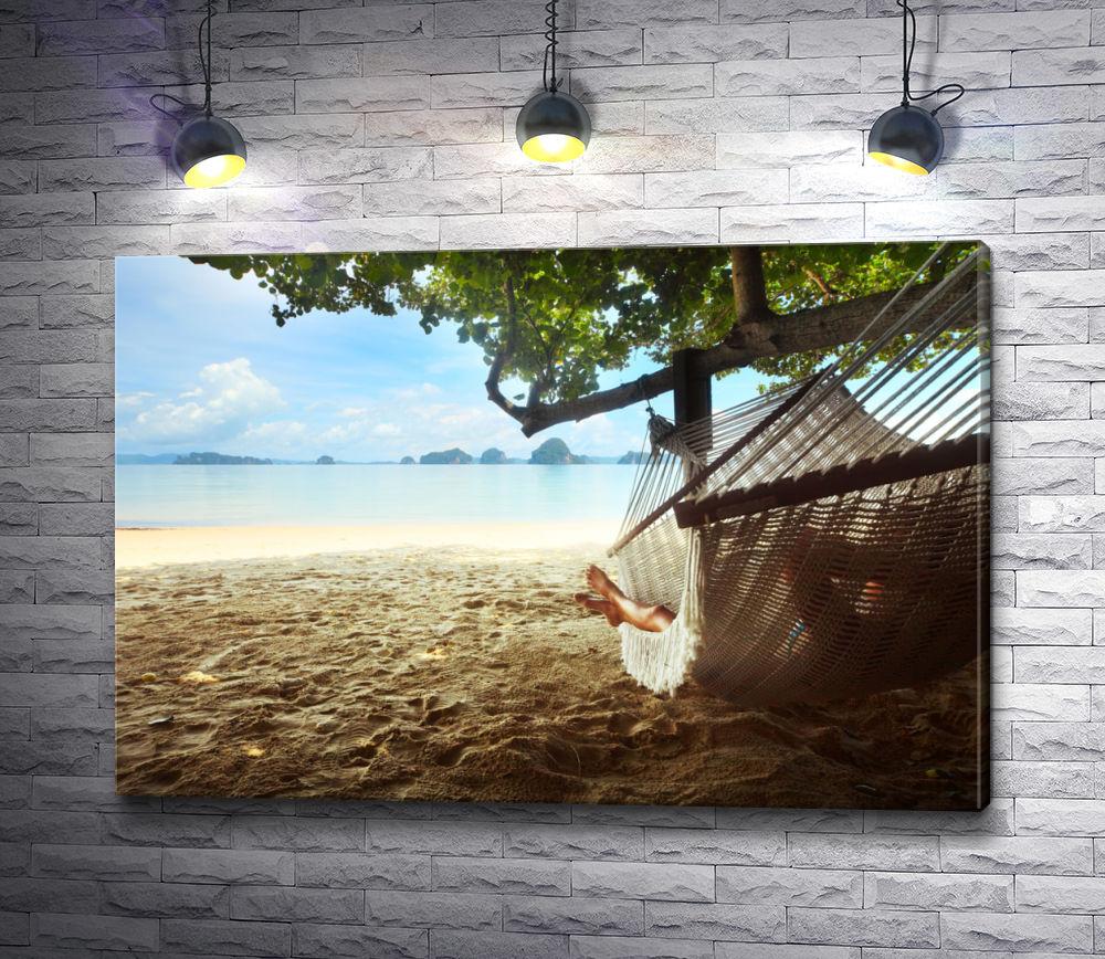 """Картина """"Отдых в гамаке на побережье"""""""