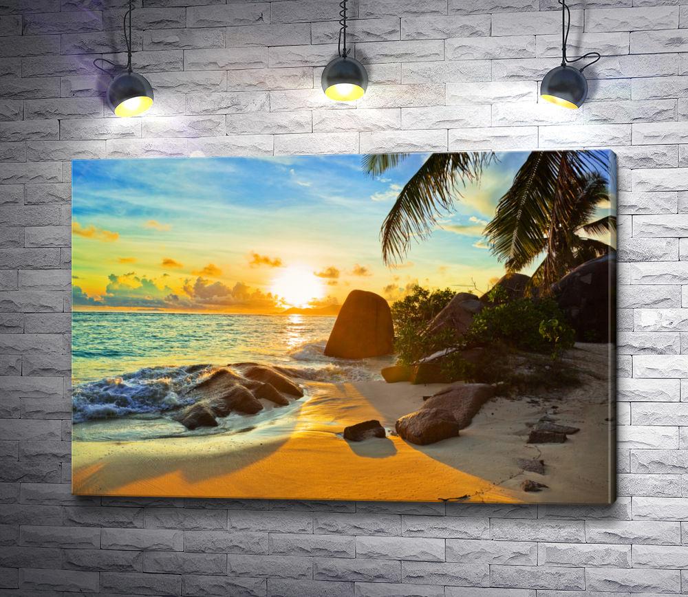 """Картина """"Живописный пляж с пальмами """""""