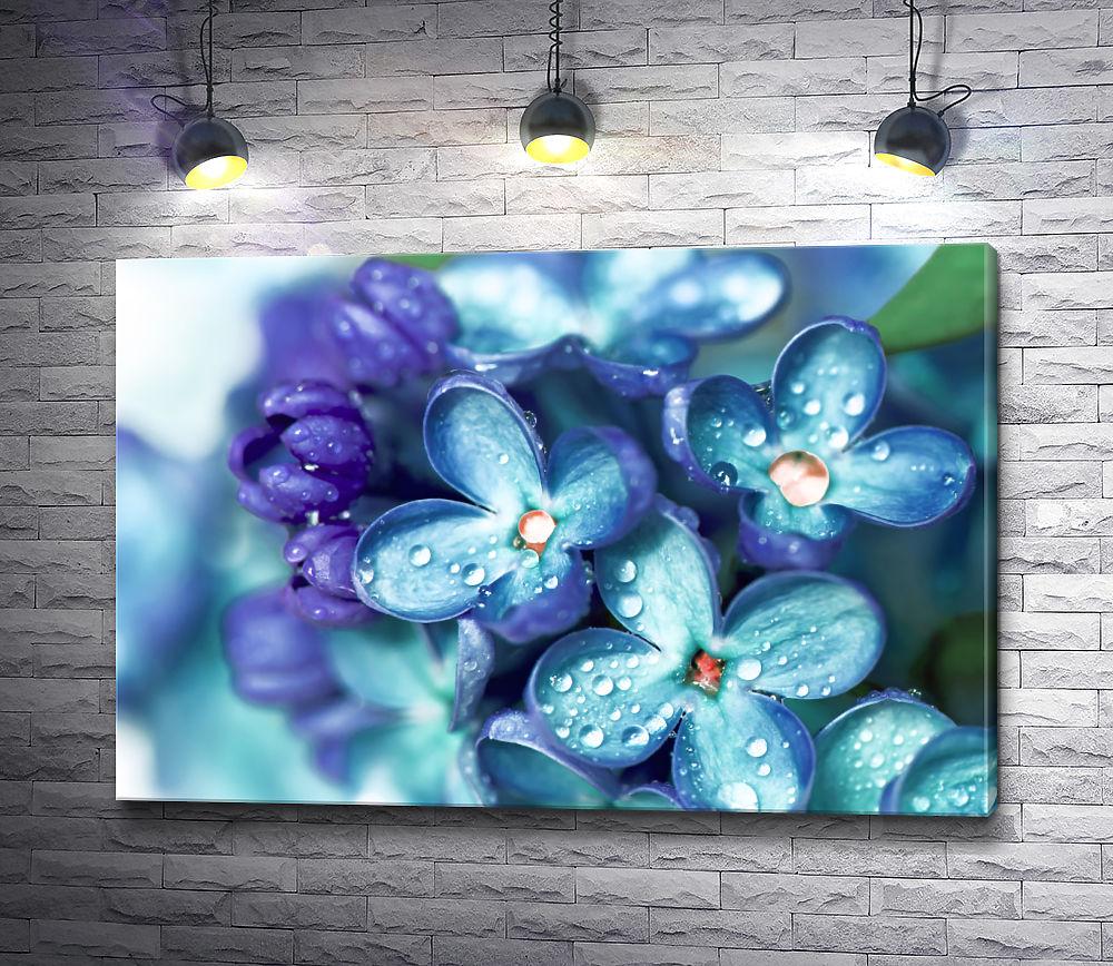 """Картина """"Пурпурные цветы в утренней росе """""""