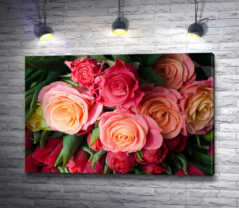 """Картина """"Роскошный букет из роз с каплями росы"""""""