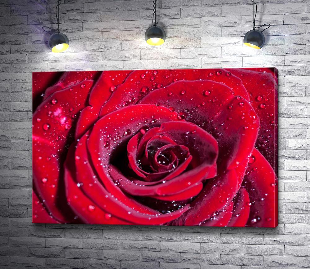 """Картина """"Красная роза с блестками"""""""