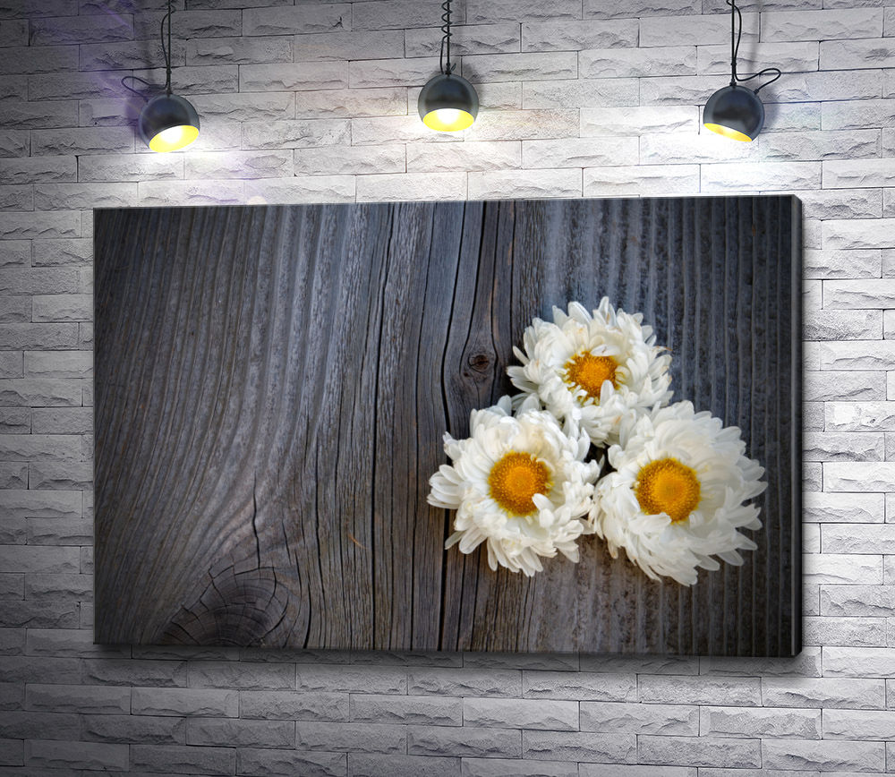 "Картина ""Три ромашки на деревянном холсте"""