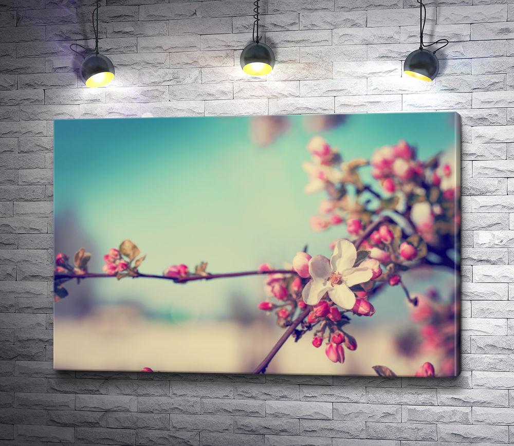 """Картина """"Весенняя ветка с розовыми цветами"""""""