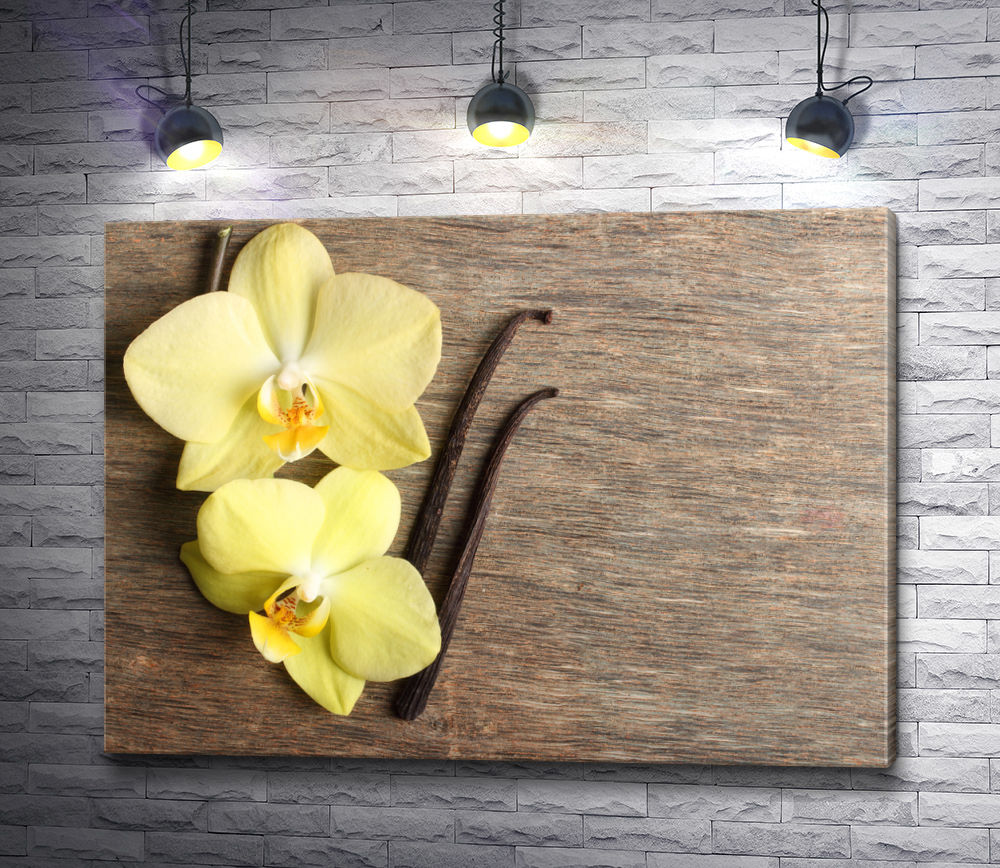 """Картина """"Две желтые орхидеи и стручки ванили"""""""