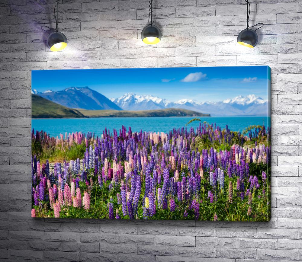 "Картина ""Цветочное поле на фоне гор"""