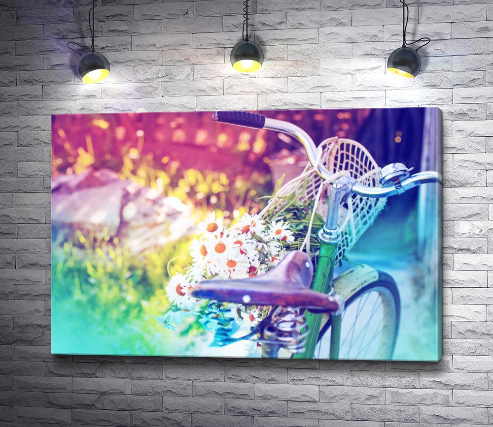"""Картина """"Велосипед и букет с ромашками"""""""