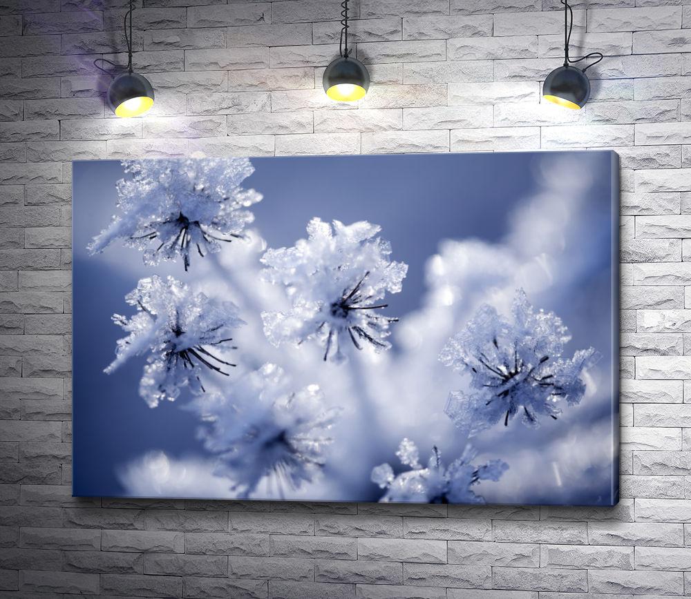 """Картина """"Цветы зимой под снегом"""""""
