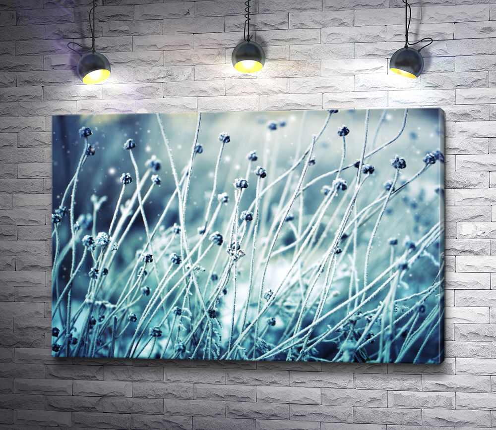 """Картина """"Полевые цветы на зимнем лугу"""""""