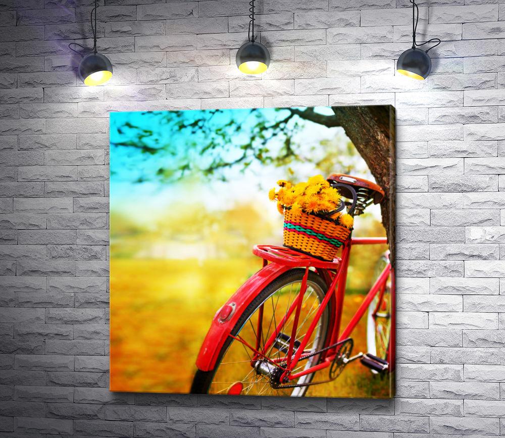 """Картина """"Велосипед с корзинкой желтых одуванчиков"""""""