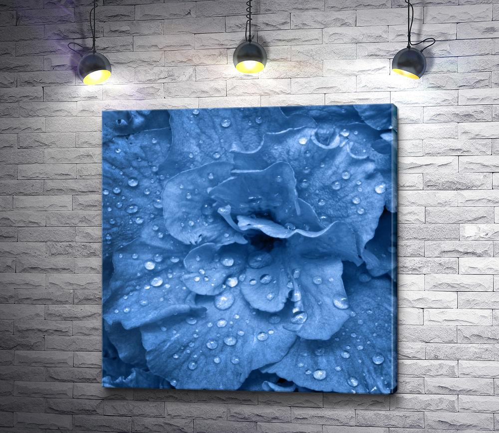 """Картина """"Голубая гвоздика с каплями росы"""""""