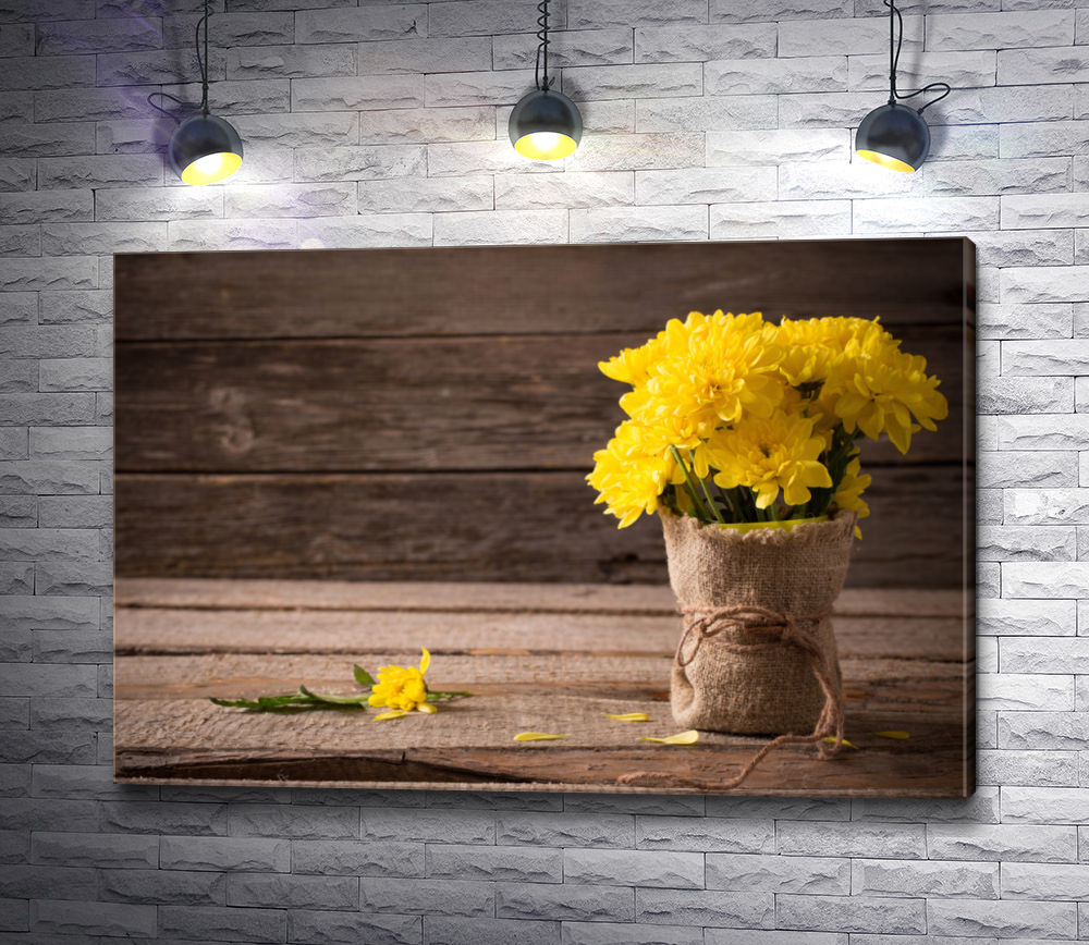 "Картина ""Желтые хризантемы в вазе"""