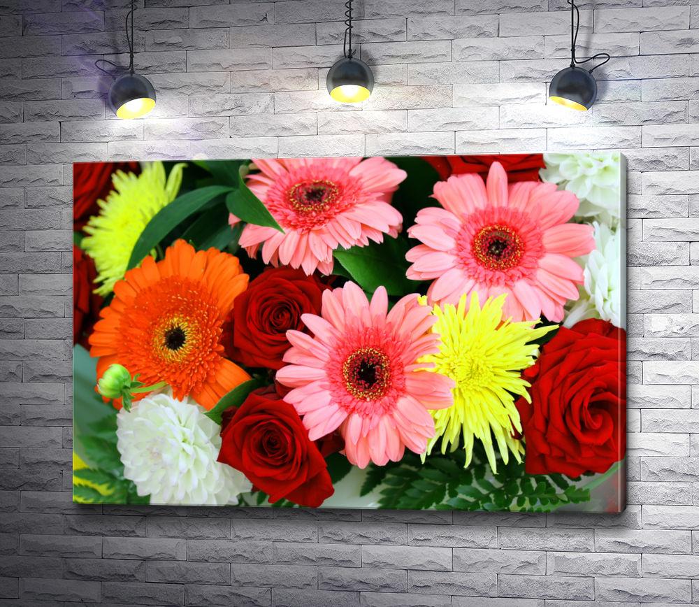 """Картина """"Яркий букет из роз, гербер и хризантем"""""""