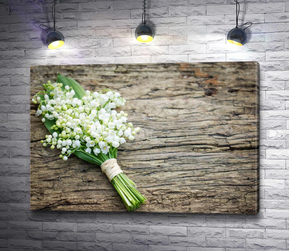 "Картина ""Букет ландышей на деревянном столе"""