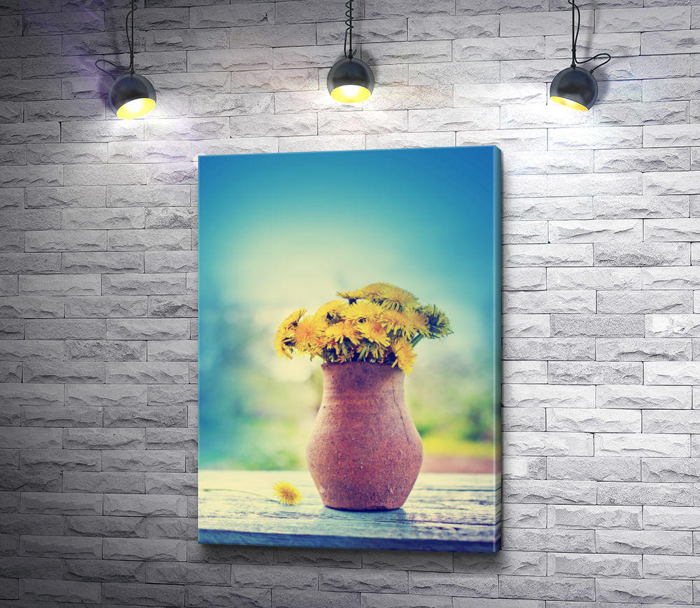 """Картина """"Желтые одуванчики в деревенском кувшине"""""""