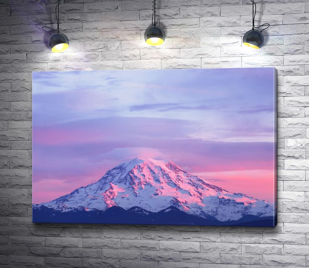 """Картина """"Розовый восход над снежной вершиной. Маунт-Рейнер, США"""""""