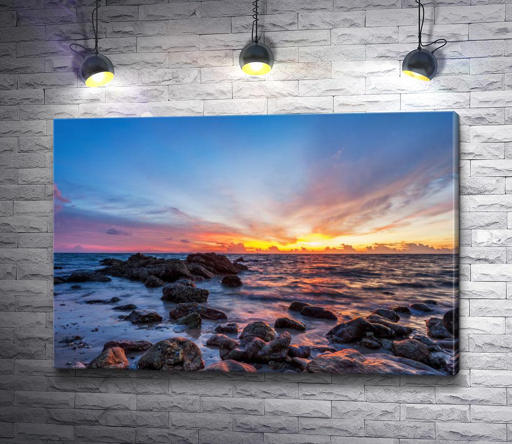 """Картина """"Морской пейзаж с оранжевым закатом"""""""