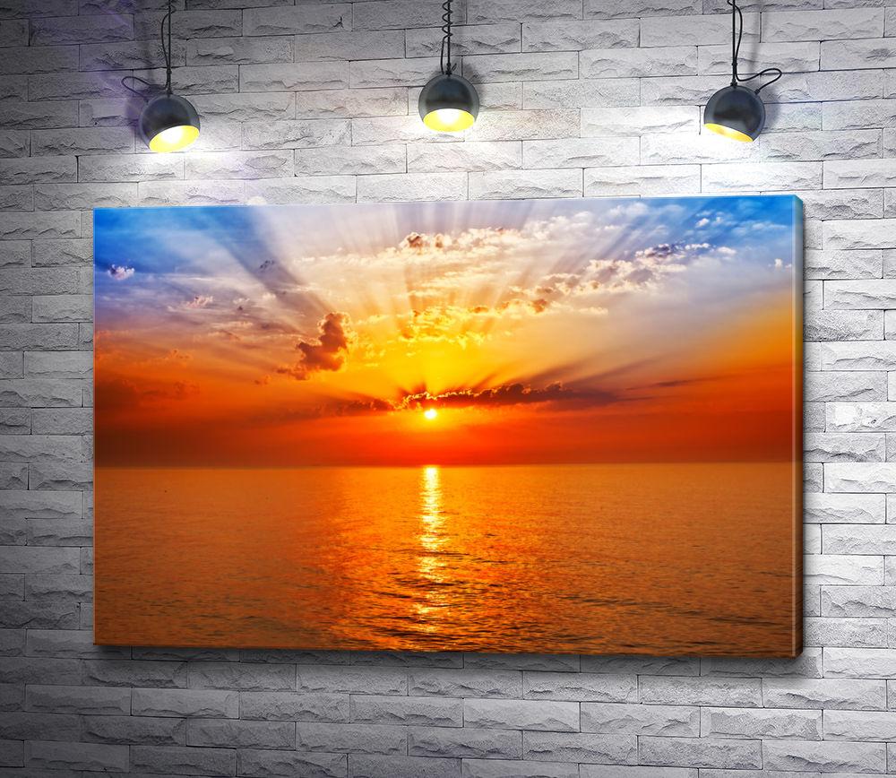 "Картина ""Оранжевый закат над морем"""