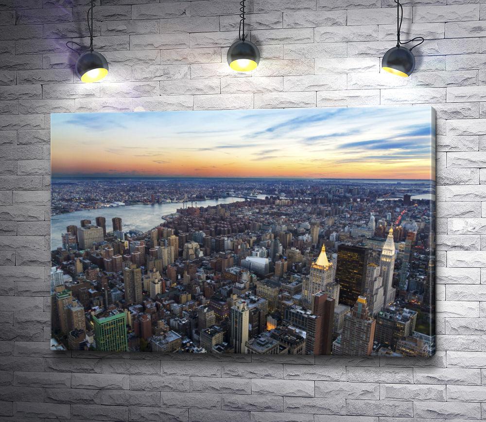 "Картина ""Вид на закат над Нью-Йорком"""