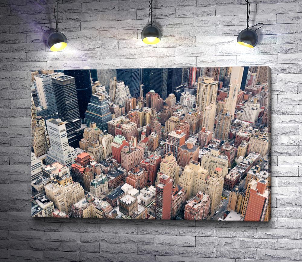 """Картина """"Манхэттен с высоты птичьего полета, Нью-Йорк"""""""